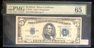Small Silver Certificates 1934 A $5 SILVER CERTIFICATE, FR-1651, PMG GEM UNCIRCULATED 65EPQ