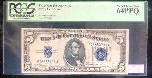 U.S. Currency 1934 A $5 SILVER CERTIFICATE, FR-1651M, MULE, PCGS VERY CHOICE 64PPQ