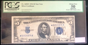 U.S. Currency 1934 $5 SILVER CERTIFICATE, FR1650*, PCGS AU 50 APPARENT, PARTIAL TELLER STAMP