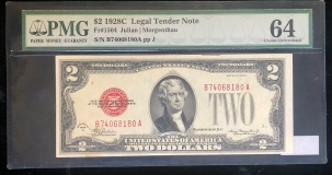 Small U.S. Notes 1928 C $2 LEGAL TENDER NOTE, FR-1504, PMG CHOICE UNCIRCULATED 64