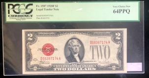 Small U.S. Notes 1928 F $2 LEGAL TENDER NOTE, FR-1507, PCGS VERY CHOICE NEW 64PPQ