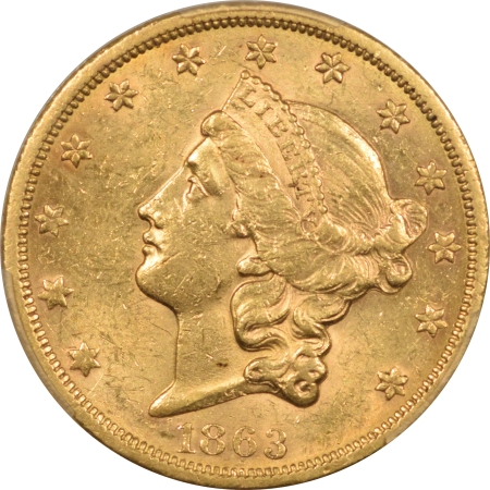 New Certified Coins 1863-S $20 LIBERTY HEAD GOLD – PCGS MS-60