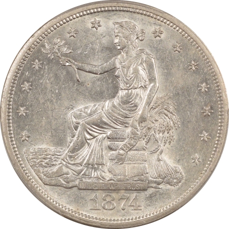 New Certified Coins 1874-S TRADE DOLLAR – PCGS AU-58 BRIGHT WHITE & PERFECT!