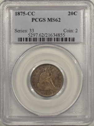 New Certified Coins 1875-CC TWENTY CENT PIECE PCGS MS-62, VERY FRESH & PREMIUM QUALITY, EXCEPTIONAL!