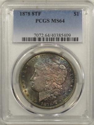 Morgan Dollars 1878 8TF MORGAN DOLLAR – PCGS MS-64 PRETTY & PREMIUM QUALITY!