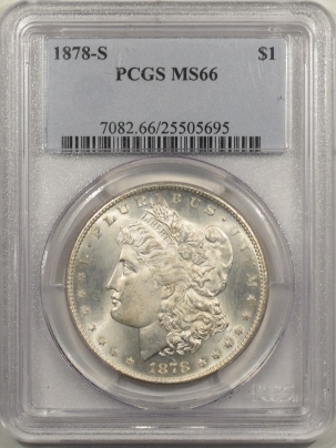 New Certified Coins 1878-S MORGAN DOLLAR – PCGS MS-66 WHITE & SUPERB!