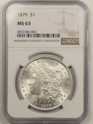Morgan Dollars 1879 MORGAN DOLLAR – NGC MS-63, BLAST WHITE