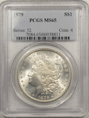 Morgan Dollars 1879 MORGAN DOLLAR – PCGS MS-65, BLAST WHITE GEM