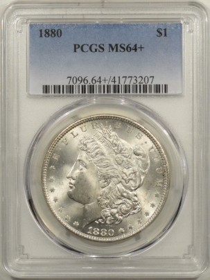 New Certified Coins 1880 MORGAN DOLLAR – PCGS MS-64+ BLAST WHITE