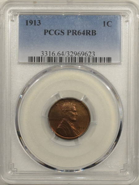 New Certified Coins 1913 MATTE PROOF LINCOLN CENT – PCGS PR-64 RB