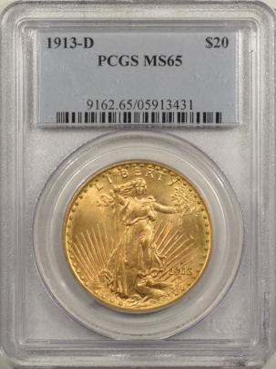 $20 1913-D $20 ST GAUDENS GOLD – PCGS MS-65