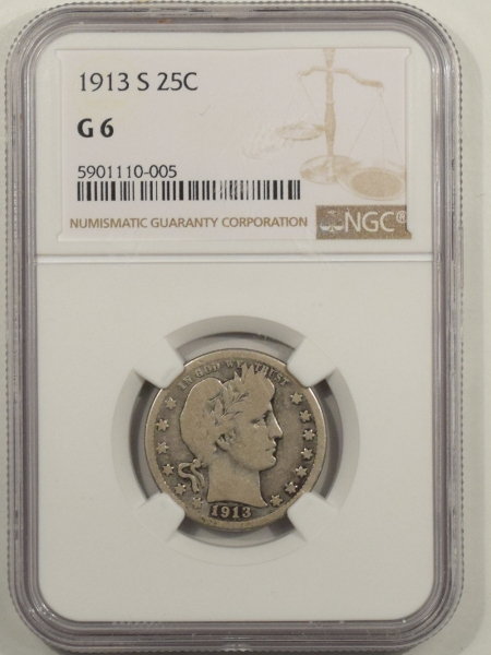 New Certified Coins 1913-S BARBER QUARTER – NGC G-6