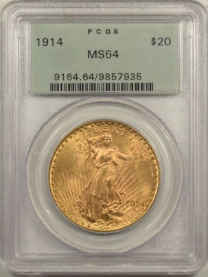 $20 1914 $20 ST GAUDENS GOLD – PCGS MS-64 OLD GREEN HOLDER & FRESH!