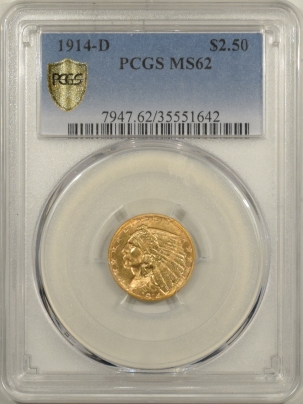 New Certified Coins 1914-D $2.50 INDIAN HEAD GOLD – PCGS MS-62