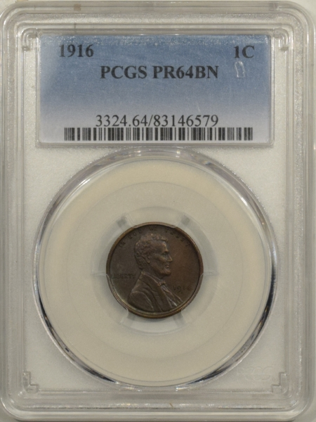 Coin World/Numismatic News Featured Coins 1916 MATTE PROOF LINCOLN CENT – PCGS PR-64 BN RARE!