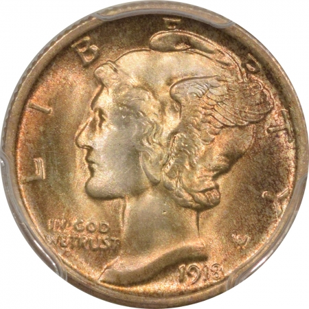 New Certified Coins 1918 MERCURY DIME – PCGS MS-65 FB