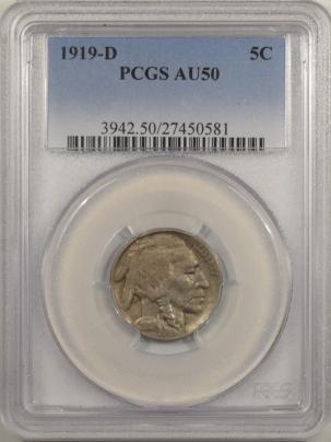 Buffalo Nickels 1919-D BUFFALO NICKEL – PCGS AU-50