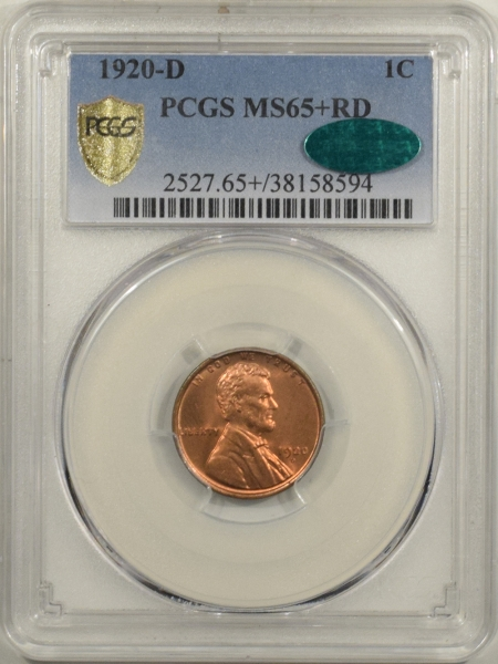 New Certified Coins 1920-D LINCOLN CENT – PCGS MS-65+ RD PREMIUM QUALITY & CAC APPROVED!