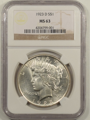 New Certified Coins 1923-D PEACE DOLLAR – NGC MS-63