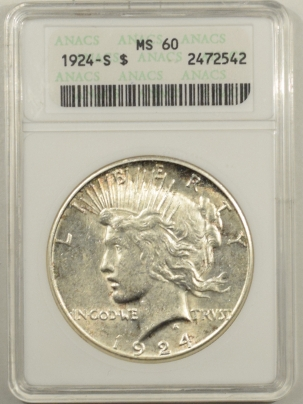 New Certified Coins 1924-S PEACE DOLLAR – ANACS MS-60, OLD WHITE HOLDER!