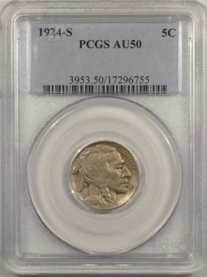 Buffalo Nickels 1924-S BUFFALO NICKEL – PCGS AU-50, TOUGH!
