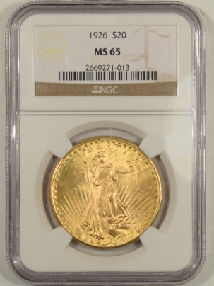 $20 1926 $20 ST GAUDENS GOLD – NGC MS-65 (TRIPLED DIE OBVERSE, BUT NOT ON HOLDER)