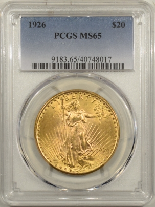 $20 1926 $20 ST GAUDENS GOLD – PCGS MS-65