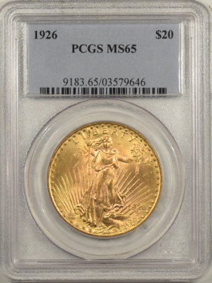 New Certified Coins 1926 $20 ST GAUDENS GOLD – PCGS MS-65