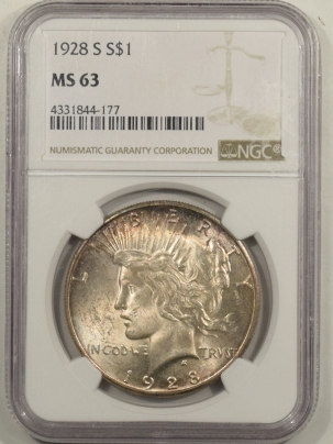 New Certified Coins 1928-S PEACE DOLLAR – NGC MS-63