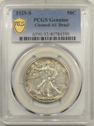 New Certified Coins 1929-S WALKING LIBERTY HALF DOLLAR – PCGS GENUINE CLEANED AU DETAILS, NICE LOOK!