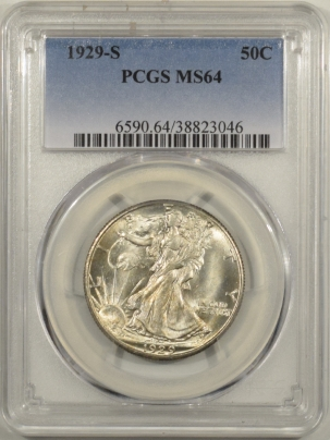 Half Dollars 1929-S WALKING LIBERTY HALF DOLLAR PCGS MS-64 FLASHY ORIGINAL WHITE, WELL STRUCK