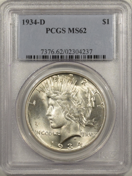 New Certified Coins 1934-D PEACE DOLLAR – PCGS MS-62