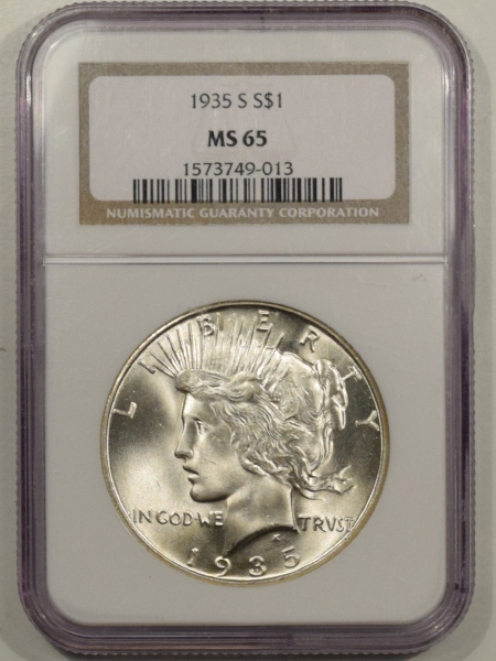 New Certified Coins 1935-S PEACE DOLLAR NGC MS-65, BLAST WHITE GEM, GREAT LUSTER