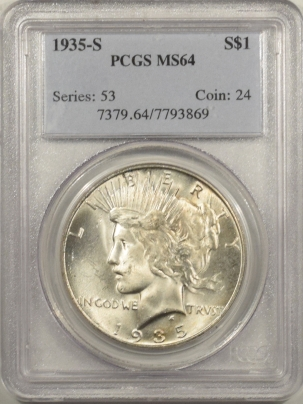New Certified Coins 1935-S PEACE DOLLAR – PCGS MS-64