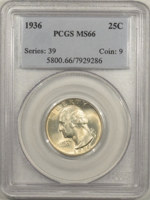 New Certified Coins 1936 WASHINGTON QUARTER – PCGS MS-66 FRESH & PREMIUM QUALITY!