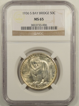 New Certified Coins 1936-S BAY BRIDGE COMMEMORATIVE HALF DOLLAR – NGC MS-65