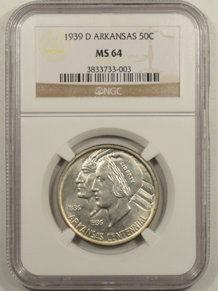 New Certified Coins 1939-D ARKANSAS COMMEMORATIVE HALF DOLLAR – NGC MS-64 MINTAGE!