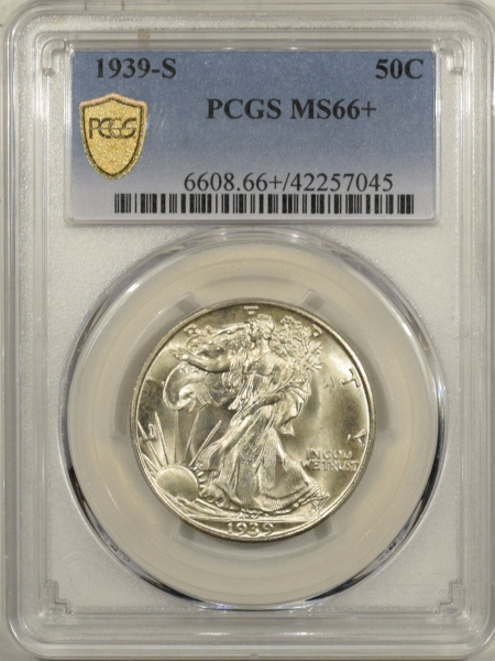 New Certified Coins 1939-S WALKING LIBERTY HALF DOLLAR – PCGS MS-66+, FRESH & PREMIUM QUALITY!