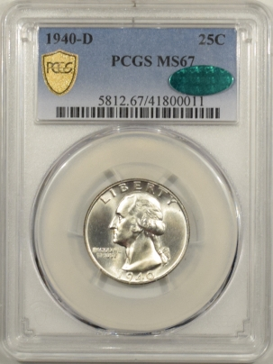 New Certified Coins 1940-D WASHINGTON QUARTER – PCGS MS-67 PREMIUM QUALITY & CAC APPROVED!