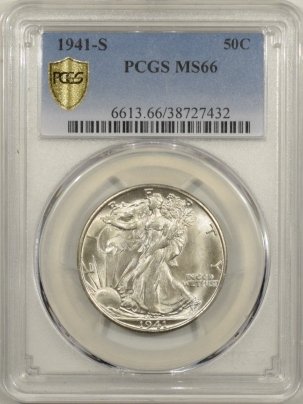 New Certified Coins 1941-S WALKING LIBERTY HALF DOLLAR – PCGS MS-66 BLAST WHITE, SUPER CLEAN!