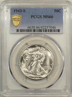 New Certified Coins 1943-S WALKING LIBERTY HALF DOLLAR – PCGS MS-66, PREMIUM QUALITY! HEADLIGHT!