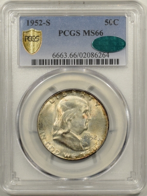CAC Approved Coins 1952-S FRANKLIN HALF DOLLAR – PCGS MS-66 PRETTY, PQ! STRONG BELL LINES, CAC!