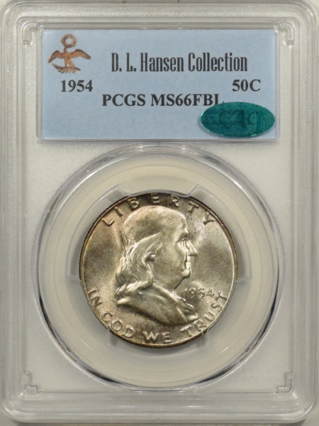 New Certified Coins 1954 FRANKLIN HALF DOLLAR DL HANSEN COLLECTION – PCGS MS-66 FBL FRESH GEM & CAC!