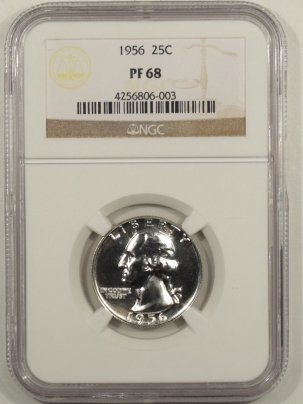 New Certified Coins 1956 PROOF WASHINGTON QUARTER – NGC PF-68
