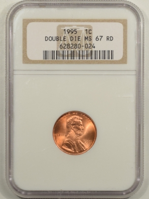 Lincoln Cents (Memorial) 1995 LINCOLN CENT – DOUBLE DIE – NGC MS-67 RD