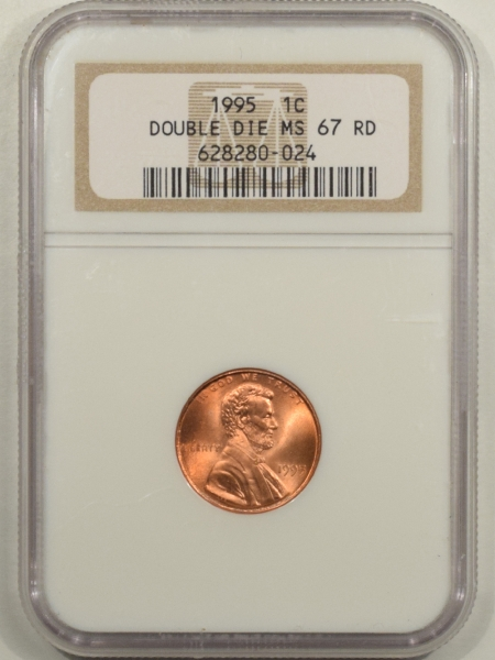 New Certified Coins 1995 LINCOLN CENT – DOUBLE DIE – NGC MS-67 RD