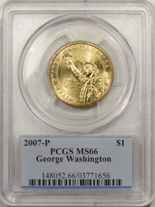 New Certified Coins 2007-P $1 GEORGE WASHINGTON PRESIDENTIAL DOLLAR – PCGS MS-66