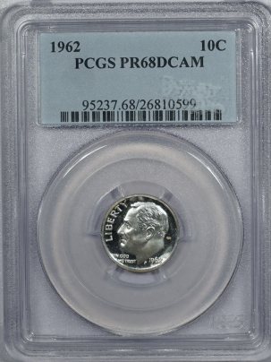 New Certified Coins 1962 PROOF ROOSEVELT DIME – PCGS PR-68 DCAM