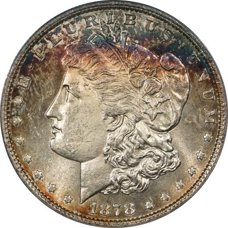 New Certified Coins 1878 8TF MORGAN DOLLAR ANACS MS-63, VAM-18, GORGEOUS RIM TONING!