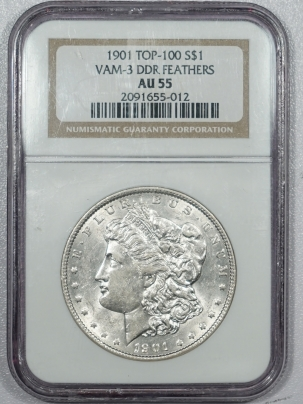 New Certified Coins 1901 DOUBLED DIE REVERSE MORGAN DOLLAR – VAM-3 DDR FEATHERS TOP 100 – NGC AU-55